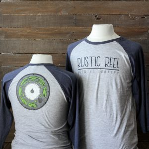 craft beer apparel rustic reel blue baseball shirt